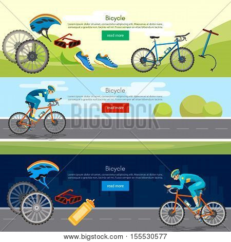 Bicycle riding banner professional cycling active lifestyle athlete rides a bicycle vector