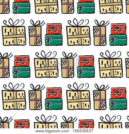 Vector hand drawn seamless patten with presents. Christmas design. Festive background. Green, red and yellow colors