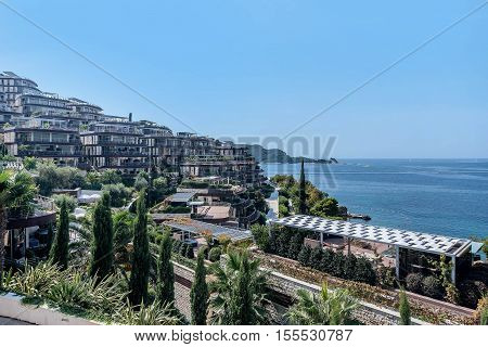 Budva, Montenegro- September 13, 2016:Luxury complex of hotels in Budva town Montenegro