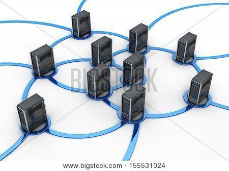 Abstract network server concept internet. 3d illustration