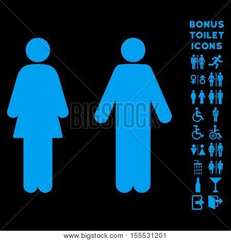 WC Persons icon and bonus male and female WC symbols. Vector illustration style is flat iconic symbols, blue color, black background.