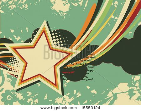 grunge star vector artistic retro design with space for text