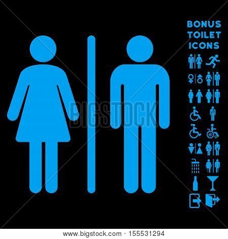 WC Persons icon and bonus male and female restroom symbols. Vector illustration style is flat iconic symbols, blue color, black background.