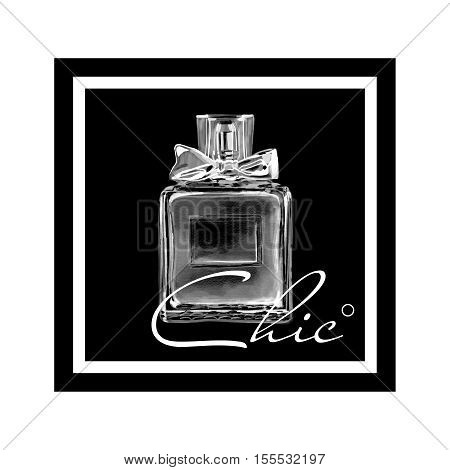 Black square with perfume fashion style elegant luxurious print isolated on white background