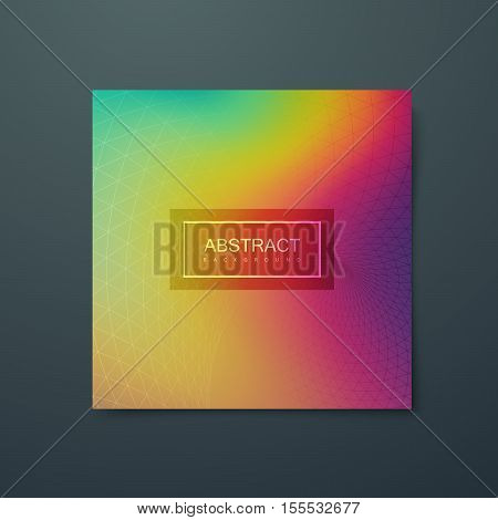 Fluid iridescent multicolored background with polygonal grid. Vector illustration of polygonal triangulated grid and spectrum colors. Applicable for party flyer, banner, poster, brochure, card.