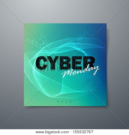 Cyber Monday sale flyer design template. Vector illustration of Cyber Monday sign with digital explosive wave.
