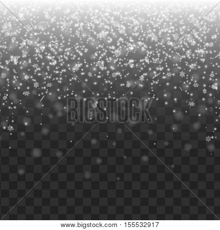 Snow on transparent background. Winter snowfall. Vector illustration