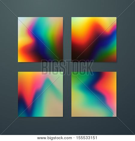 Fluid iridescent multicolored backgrounds. Vector illustration of iridescent wavy fluids. Poster set with holographic neon effect. Applicable for flyer, banner, poster, brochure, cover. Spectrum color