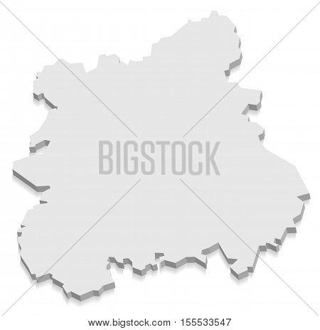 West Midlands England Map grey 3D illustration high res