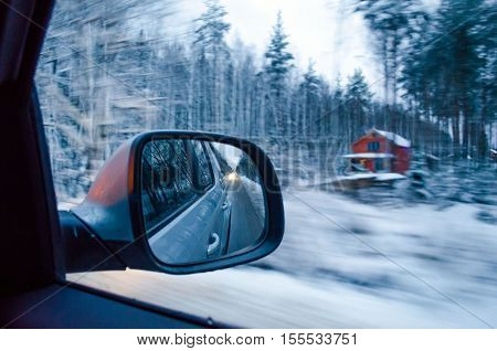 The View From The Window Of The Car - Snow-covered Forest