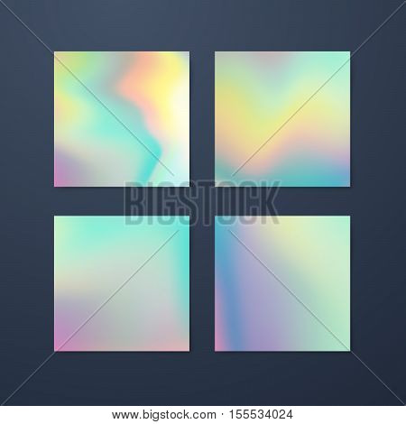 Fluid iridescent multicolored backgrounds. Vector illustration of pastel fluids. Poster set with holographic neon effect. Applicable for flyer, banner, poster, brochure, card. Spectrum colors
