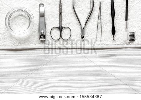 preparation for pedicure - tools on table top view.