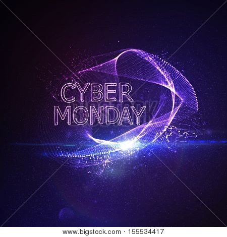 Cyber Monday sale flyer design template. Vector illustration of neon lights Cyber Monday sign with digital illuminated wave, particles and lens flare light effect.