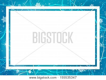Frame of ice. Winter frame with snoflakes. Christmas background. Vector illustration.