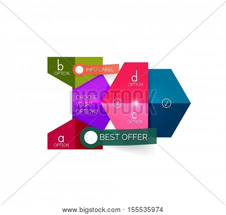 Abstract infographic geometric templates. Vector layouts with options and text for business background - numbered banners - business lines - graphic website