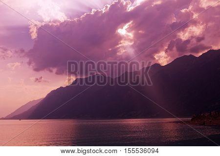 swiss lake at sunset in brienz, Switzerland