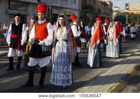 SELARGIUS, ITALY - September 9, 2012: Former marriage Selargino - Sardinia - Parade of folk group the Quarter Villanova of Cagliari