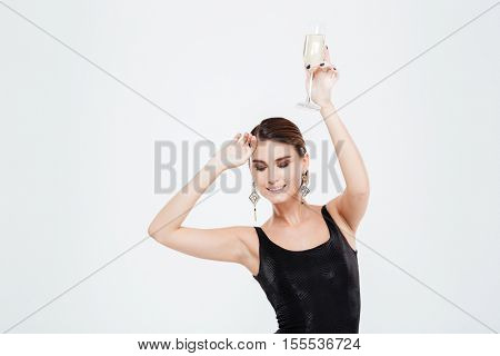 Beauty business woman. with champagne