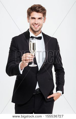 Businessman with champagne. in cool suit