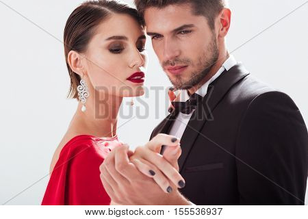 Fashionable couple in love. close up portrait