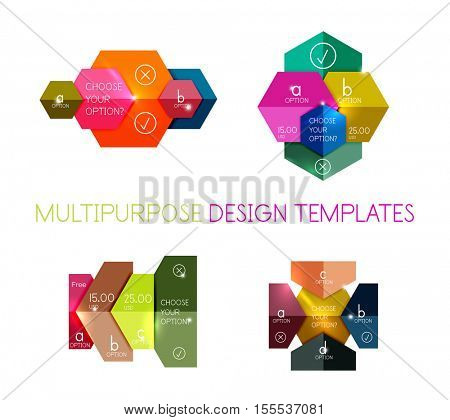 Infographic banners modern paper templates. For banners, business backgrounds, presentations
