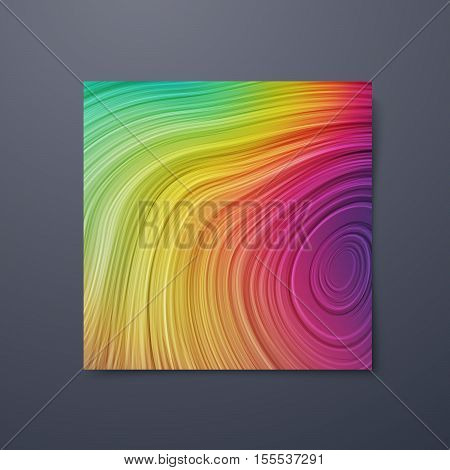 Poster design template with swirled iridescent lines. Vector illustration of striped pattern. Marble texture imitation. Branding stationery design. Applicable for flyer, banner, poster, brochure