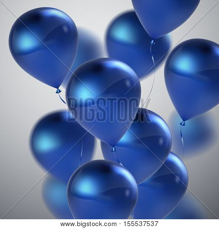 Vector festive illustration of flying realistic glossy balloons. Blue birthday balloons. Decorative 3D element for party invitation design