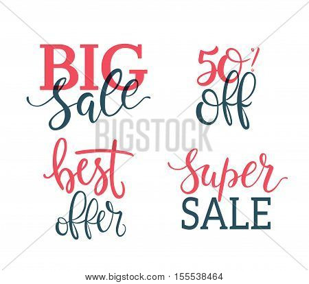 Sale vector Inscriptions set. Lettering Vector illustration isolated on white. Discount 50 percent off, big sale, best offer, super sale.