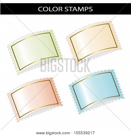 Vector deflected stamps on white background - illustration