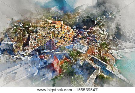 Digital watercolor painting Vernazza small coastal village in the Italian region of Liguria Cinque Terre. Province of La Spezia. UNESCO World Heritage List. Italy