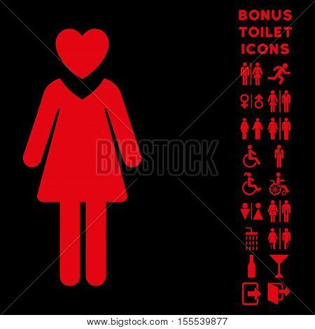 Mistress icon and bonus man and woman toilet symbols. Vector illustration style is flat iconic symbols, red color, black background.