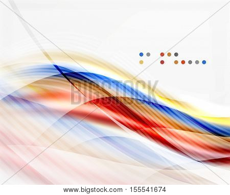 Glossy blurred shiny wave lines, colorful stripes. Modern business presentation or message background