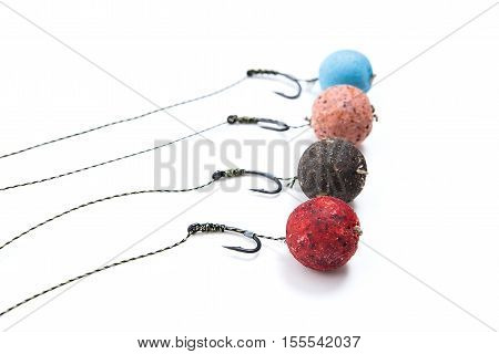 Carp Fishing. Different Of Carp Bait For Carp Fishing Isolated On White Background.