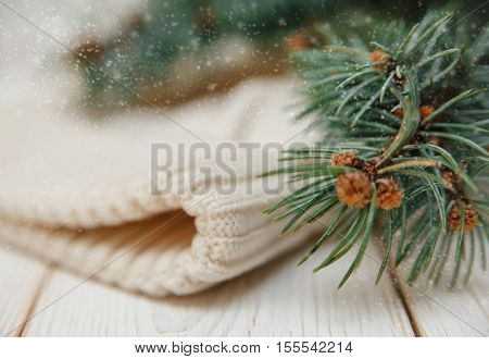 Winter composition with green branches and white knitted hat.Selective focus