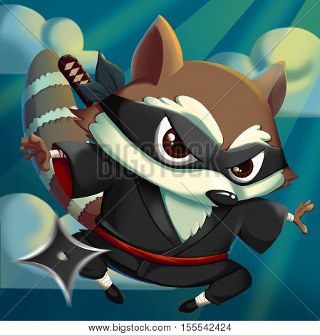 Ninja KungFu Raccoon! Video Game's Digital CG Artwork, Concept Illustration, Realistic Cartoon Style Background and Character Design
