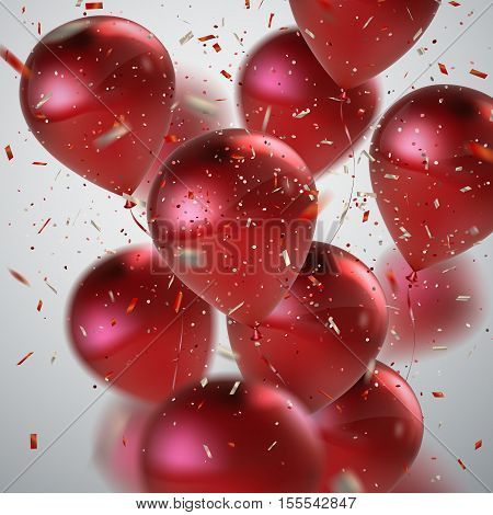 Red Balloons And Holiday Confetti. Vector Holiday Illustration Of Flying Red Balloons And Confetti Glitters. Award Ceremony Or Other Holiday Event Decoration Element