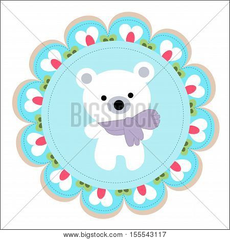 cute baby template for greetings or invitations with a white Teddy bear in a scarf. Pattern to decorate or design a birthday card or scrapbook page album. Vector illustration. Baby shower or arrival
