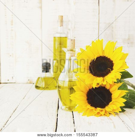 Bottle With Oil Flowers Sunflower, Selective Focus