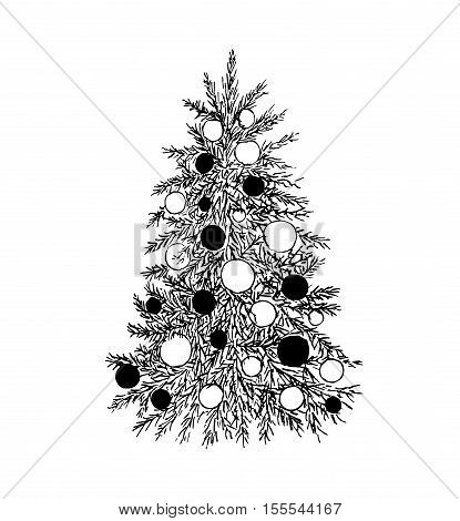 Hand drawn evergreen tree with decorations. Sketch spruce fir fur pine. Vector illustration for vintage card.