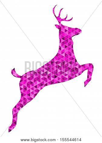 decorative purple Reindeer low poly - illustration