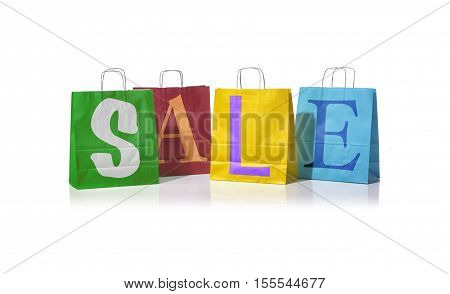 Shopping bags with the word sale on them representing the concept of retail consumers and shoppers looking for bargains and low prices.