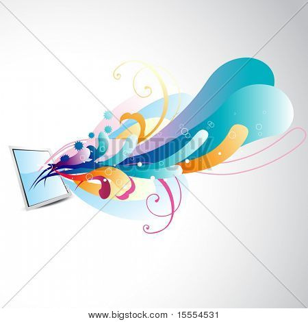 vector beautiful mirror with floral design coming out