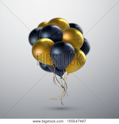 Vector festive illustration of flying realistic glossy balloons. Black and golden balloon bunch. Decoration element for holiday event invitation design