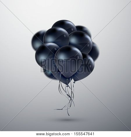 Vector festive illustration of flying realistic glossy balloons. Black balloon bunch. Decoration element for holiday event invitation design. Applicable for banner, poster, flyer, greeting cards