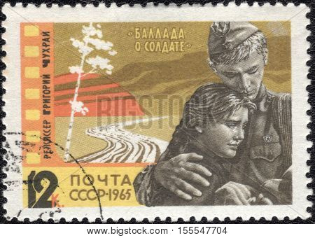USSR - CIRCA 1965: A stamp printed in USSR shows Scene from Film