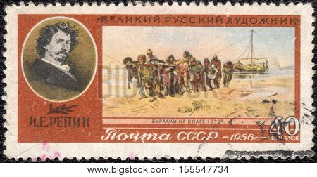 USSR - CIRCA 1956: A stamp printed in the USSR the The great Russian artist Ilya Repin,  picture