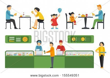 People in a Pizzeria interior flat icons set. Cashier, Deliveryman, Customers, Bistro, Waiters, Delivery, Car. Pizza concept web vector illustration.