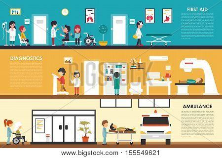 First Aid Diagnostics Ambulance flat hospital interior outdoor concept web vector illustration. Doctor, Healthcare, First Aid, Clinic. Medicine service presentation