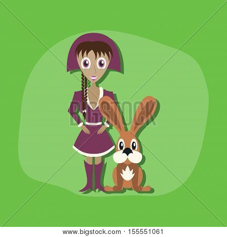 paper sticker on stylish background of Christmas girl rabbit