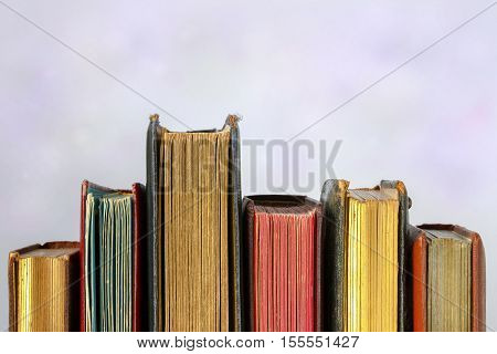 Old albums for photos of different heights standing in a row